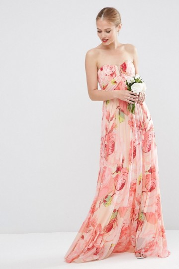 ASOS WEDDING Floral Printed Rouched Bandeau Mesh Maxi Dress