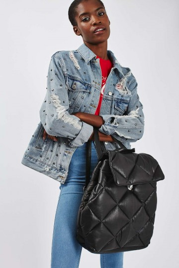 Leahter Quilted Backpack