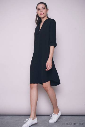 Juleen Sleeves Shift Dress Black