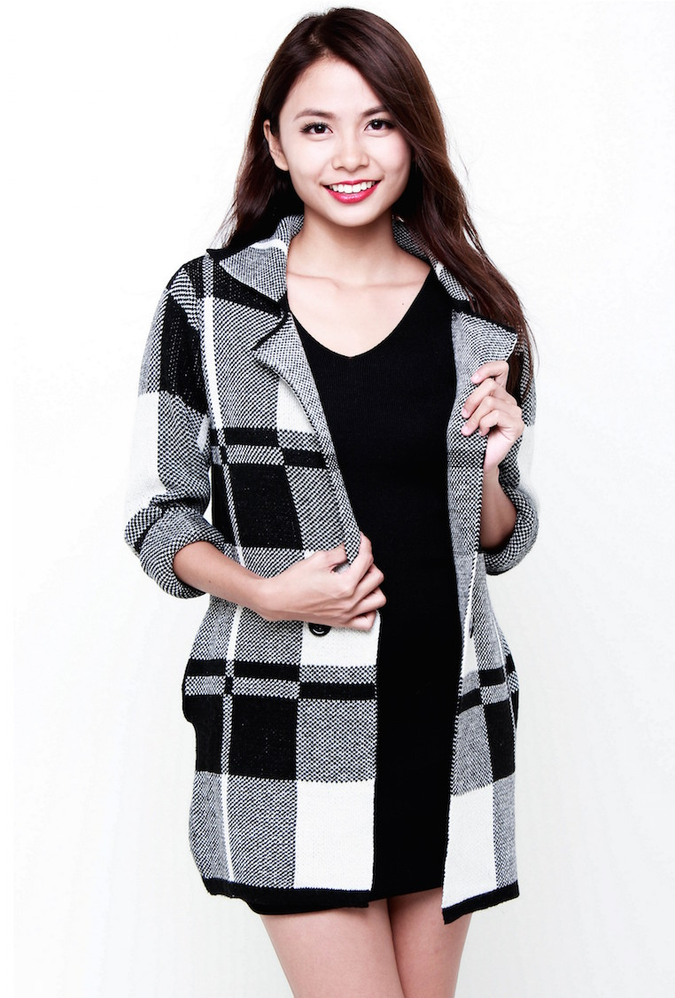 PREMIUM Celebrity Checkered Coat in Black  - *EXTRAs From BOs