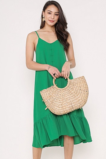 TILDA DROP-WAIST MIDI DRESS (KELLY GREEN)