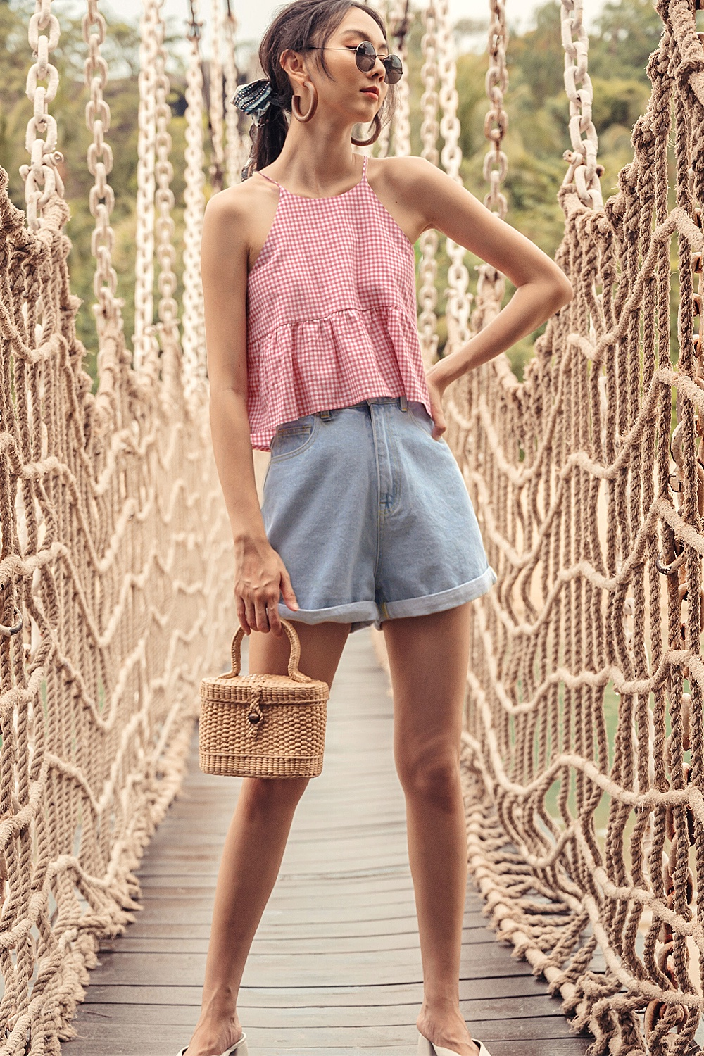 GINGHAM BABYDOLL TOP IN PINK