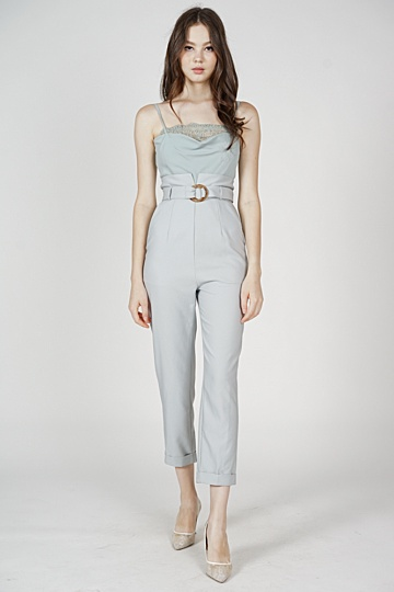 Mieki Lace-Trimmed Jumpsuit in Ash Blue - Arriving Soon