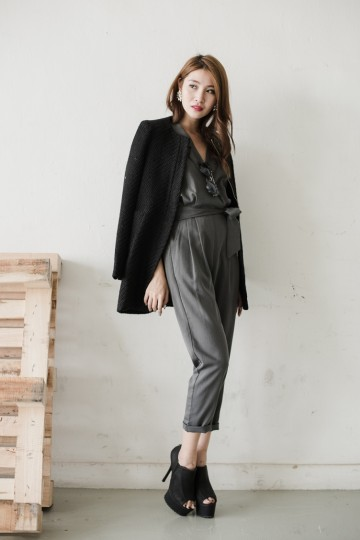 Donia Utility Jumpsuit in Dark Heather