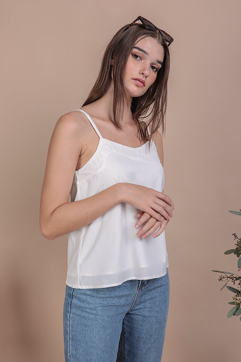 Lily Lace Spag Top (White)