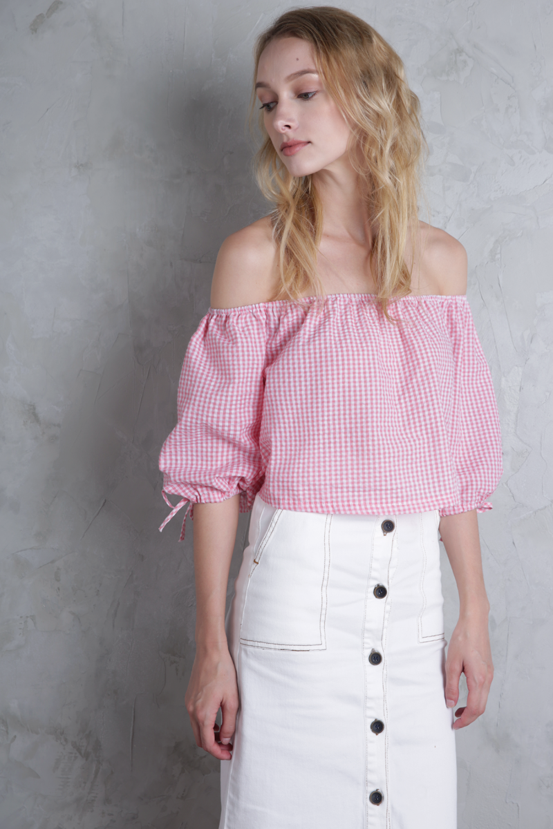 Nanda Gingham Off Shoulder Top (Pink)