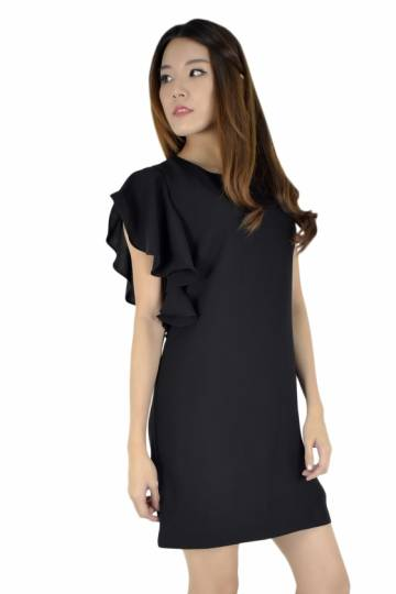 Carrie Butterfly Sleeves Flare Dress