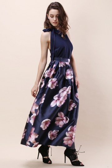 Peach Blossom Printed Maxi Skirt in Navy