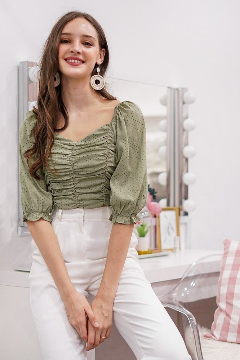 RIELLE POLKA DOT 2-WAY RUCHED TOP #MADEBYLOVET (DUSTY GREEN)