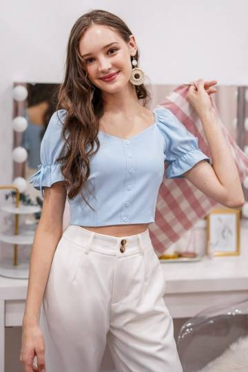AVA 2-WAY BUTTON CROP TOP #MADEBYLOVET (PASTEL BLUE)
