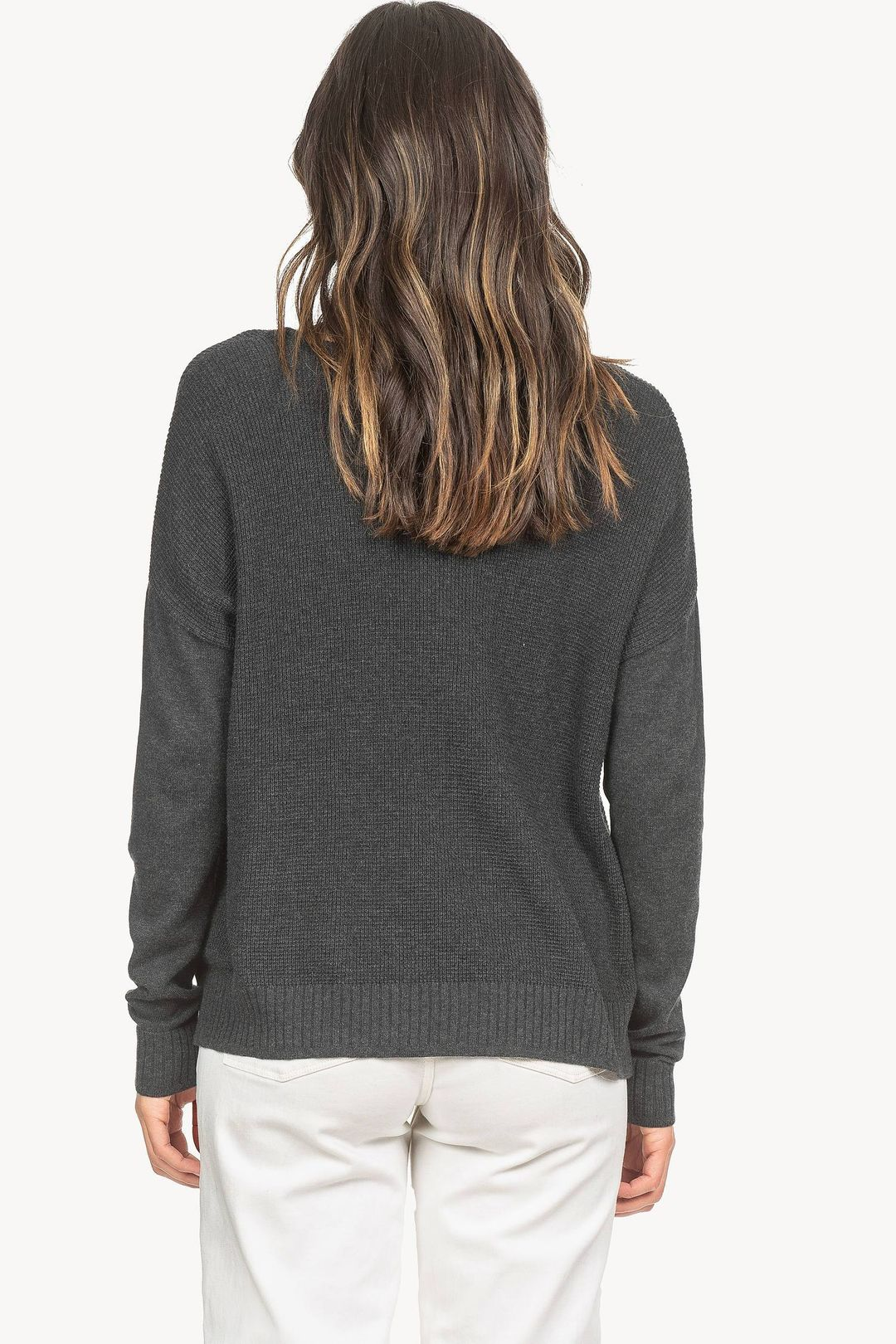 Side Snap V-Neck Sweater