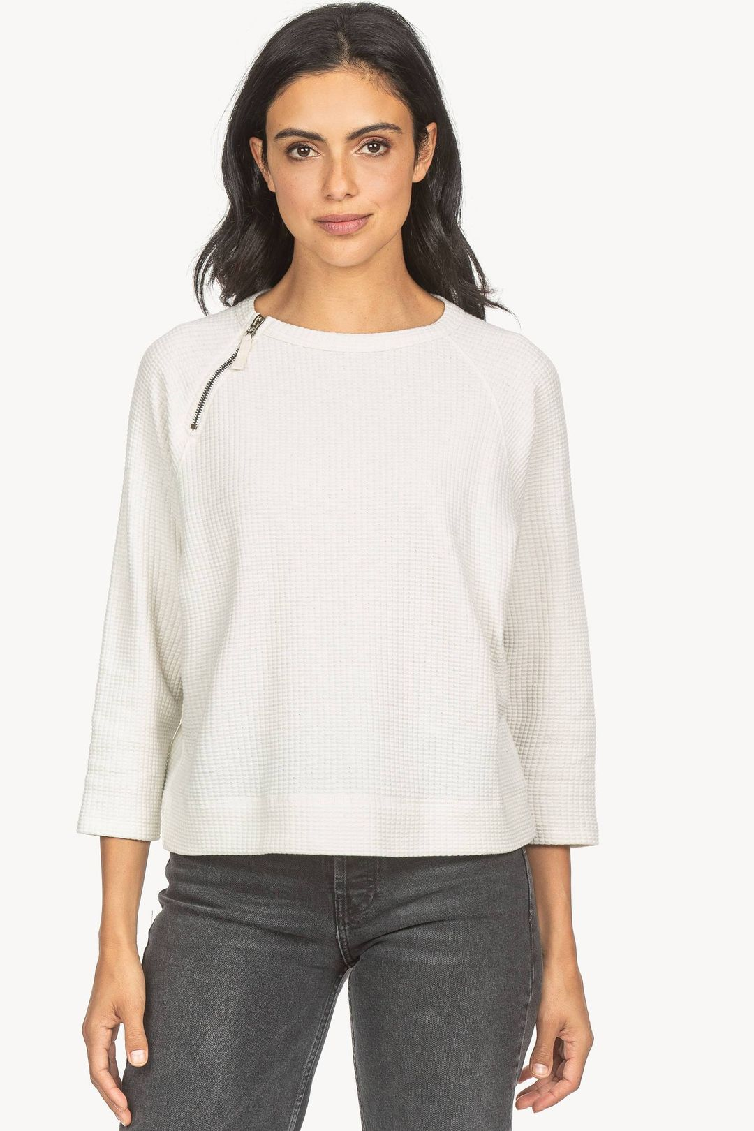 Zipper Neck Pullover Top