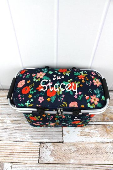 Spring Blossoms Collapsible Insulated Market Basket with Lid