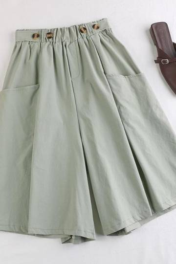 (Pre-Order) Front Pockets Wide Leg Loose Fit Pants in Light Green