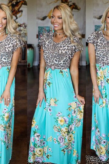 Leopard Mint Floral Ruffle Sleeve Maxi Dress