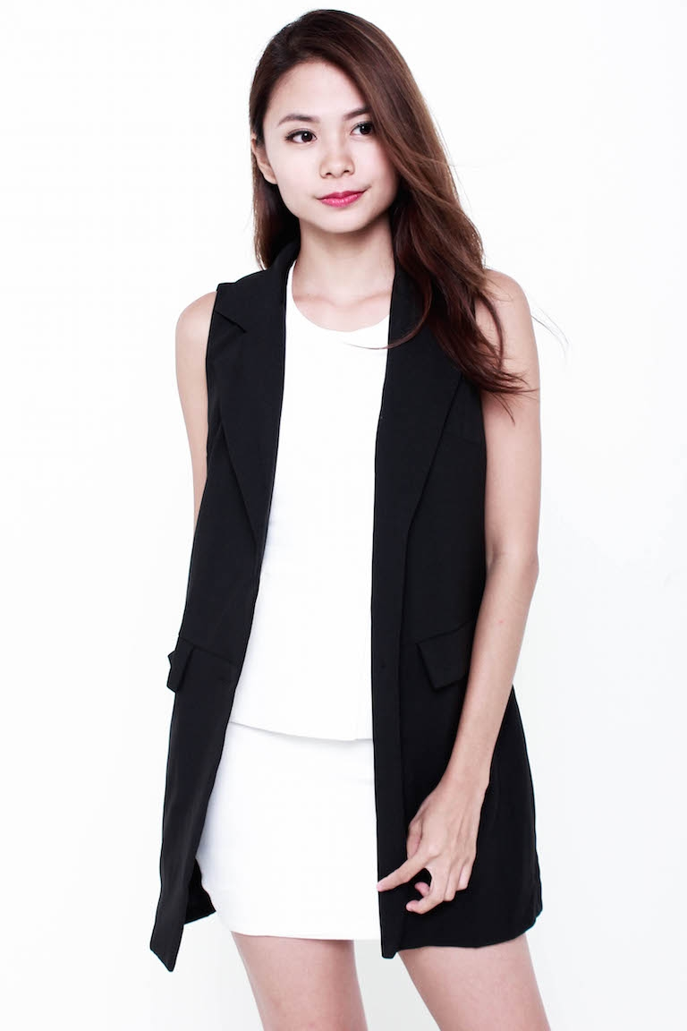 PREMIUM Lorene Pocket Blazer Vest in Black