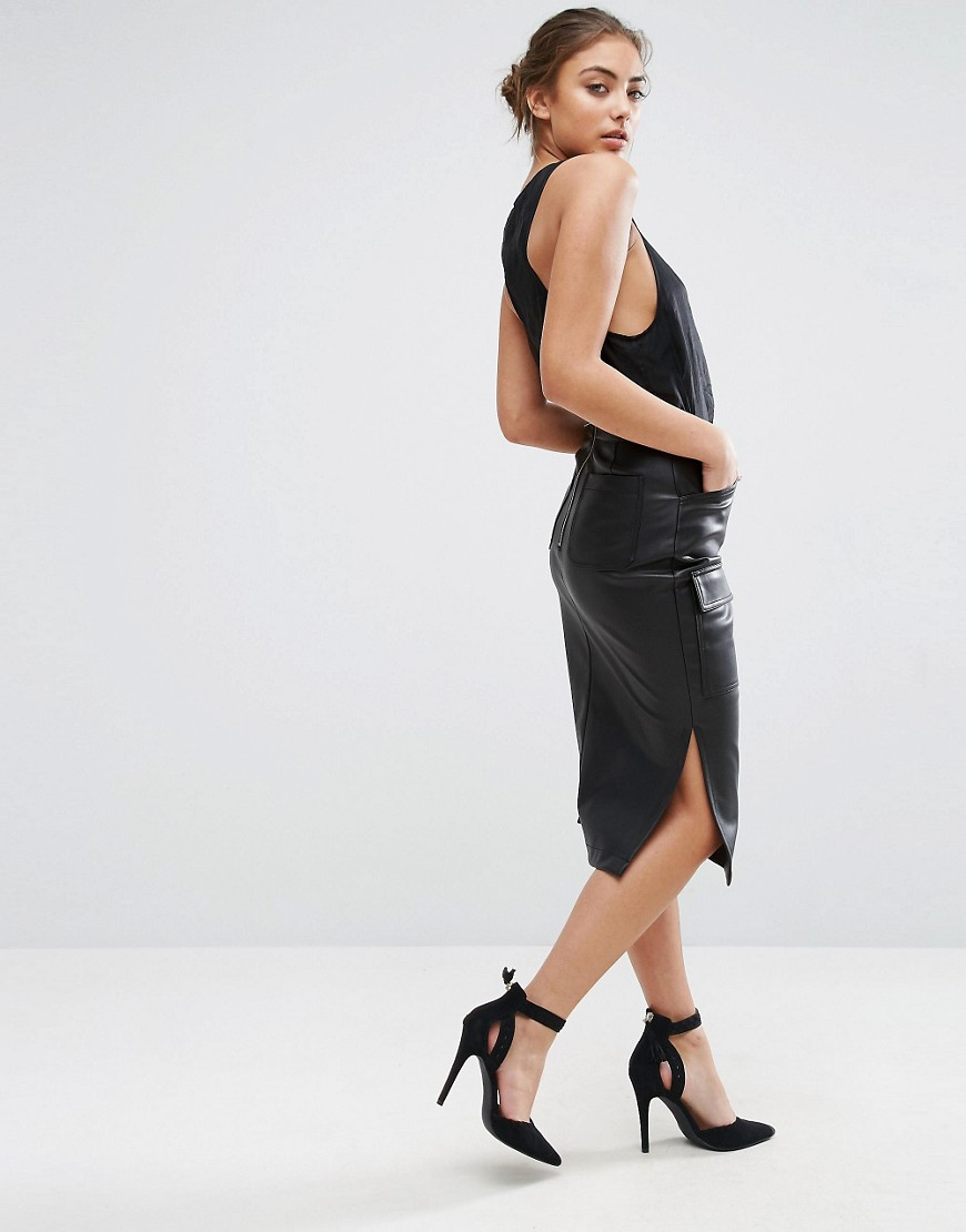 9a5a494ff772 ASOS Pencil Skirt in Leather Look with Pocket Detail - ShopperBoard