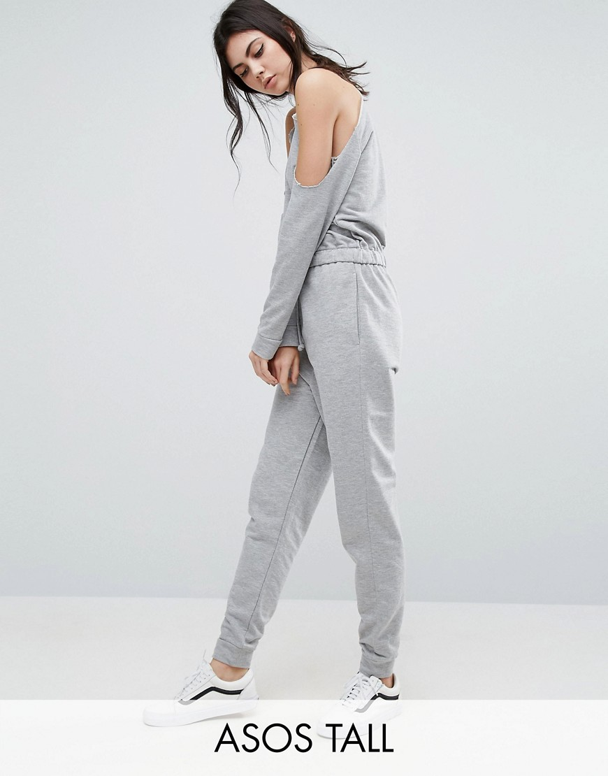 7bf83a4fcb0 ASOS TALL Cold Shoulder Sweat Jumpsuit - ShopperBoard