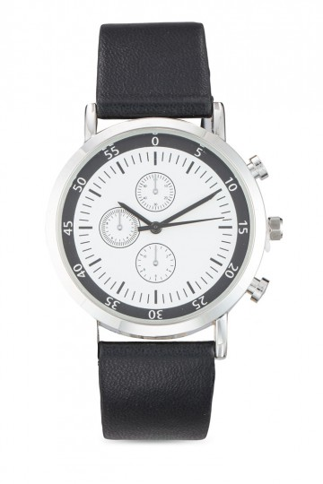 Round Chronograph Face PU Strap Watch