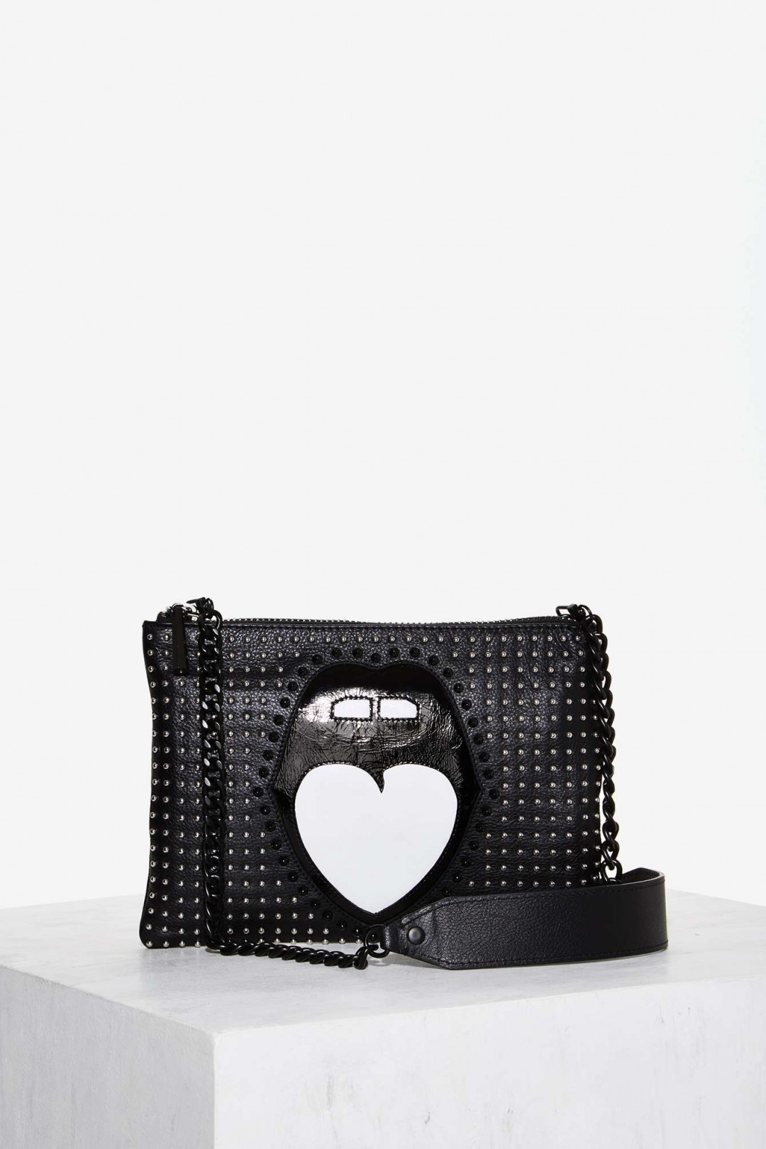 1699e23101f5 Nasty Gal Mouth Off Studded Leather Bag - ShopperBoard