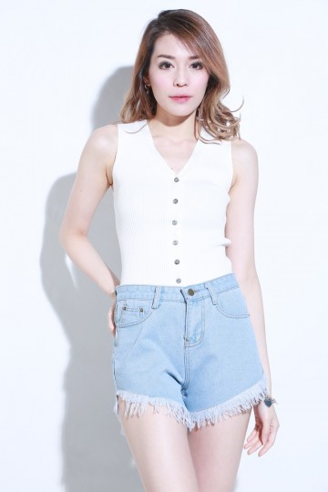 (BACKORDER) Janine Button Knit Top in White