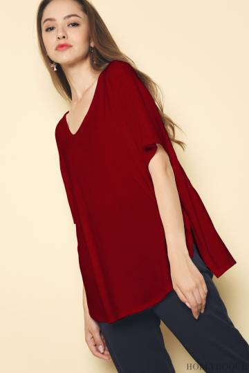 Gabe Oversized Curve Hem Tee Wine Red