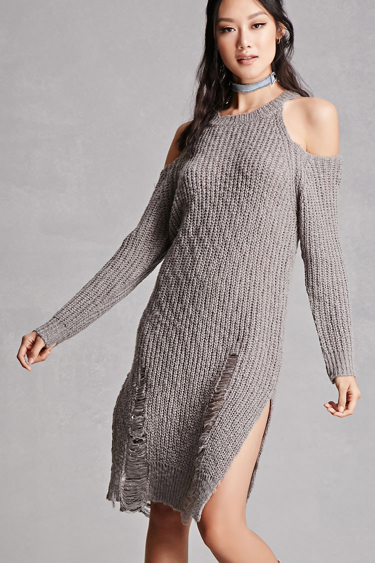 7540e4d94f3 Open-Shoulder Sweater Dress. From Forever 21