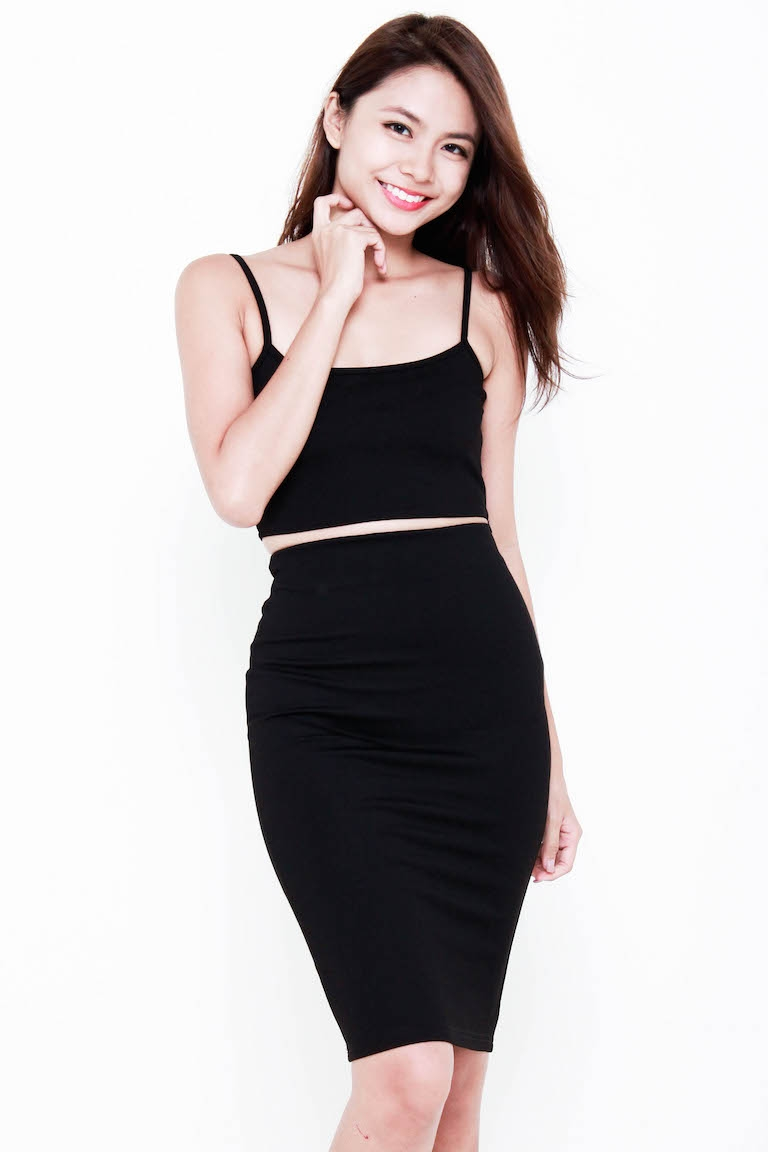 Premium Kylie Midi 2-Piece Set in Black [S/M/L]