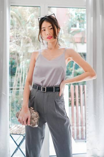 *MADE BY WP* Darla Satin Top in Lush Grey
