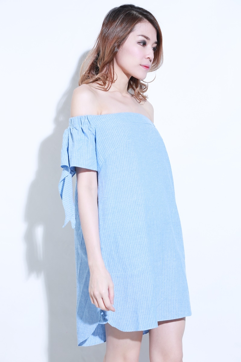 Sanur Off Shoulder stripes Dress in Blue*