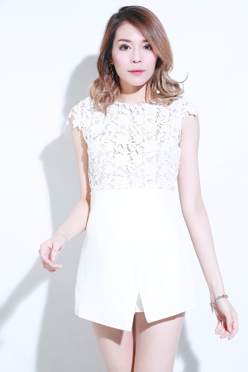 (BACKORDER) Sparrow Crochet Romper in White