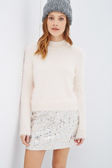 Mock Neck Fuzzy Sweater