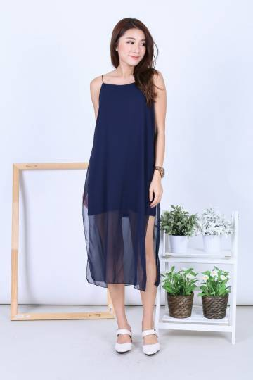 EVA LAYERED DRESS IN NAVY