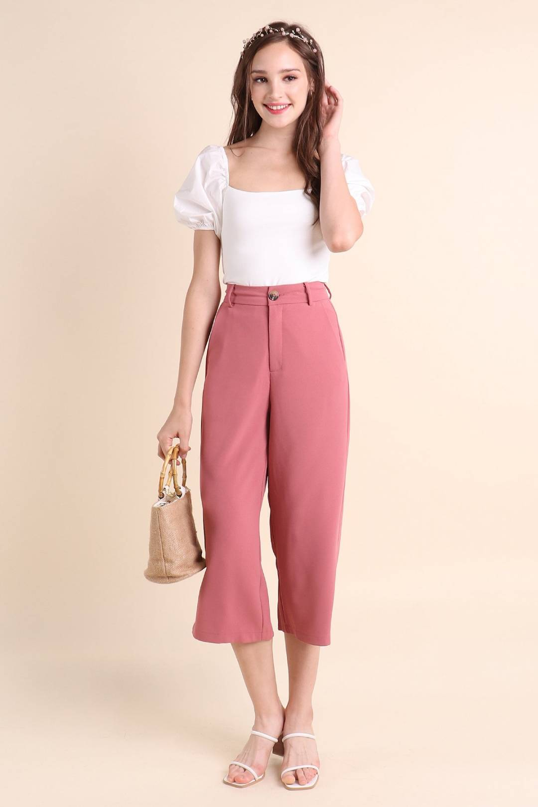 RESTOCKED** MADEBYNM CLARITY WIDE-LEG BUTTONED CULOTTES IN ROSE MELON [XS/S/M/L/XL]