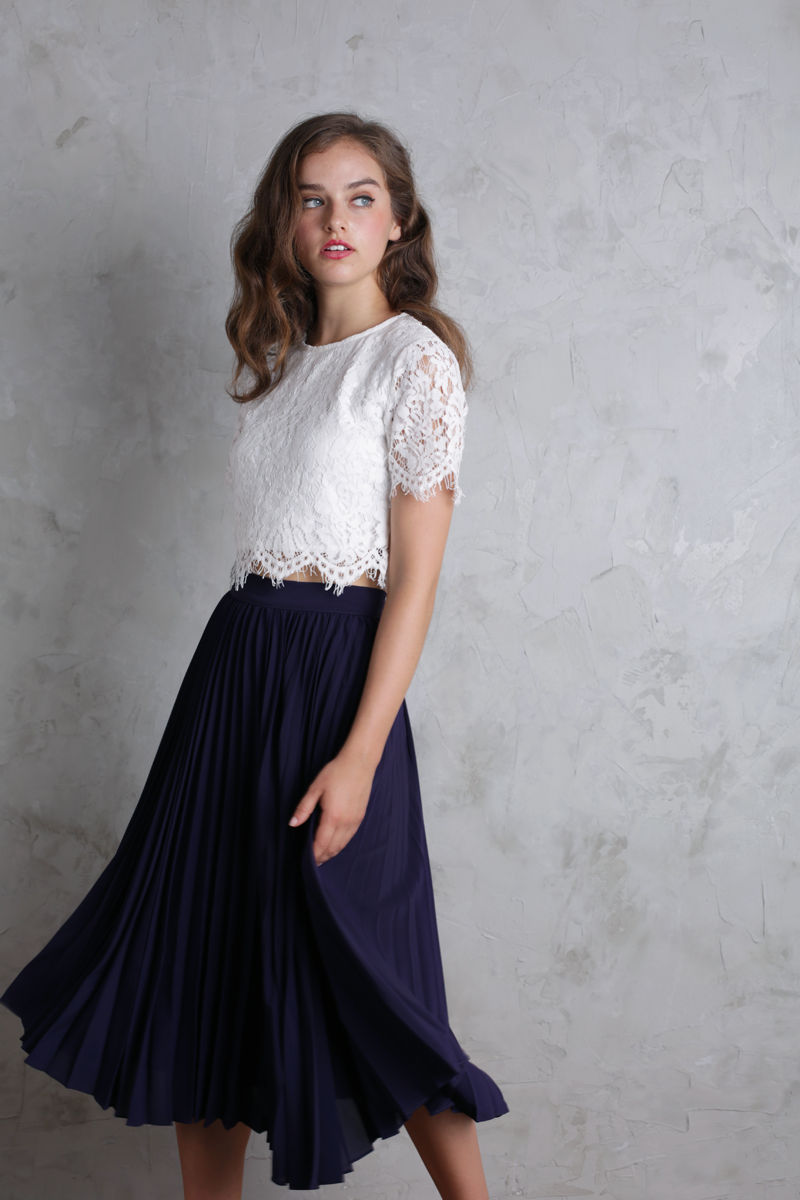 Courtney Pleated Midi Skirt (Indigo)