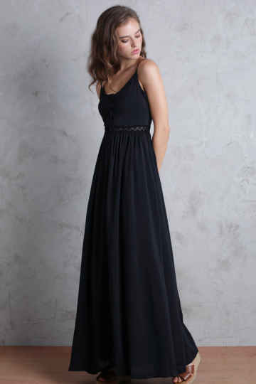 Ellyn Lace Maxi Dress(Black)