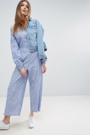 2fe83dab09 ASOS TALL Off Shoulder Jumpsuit in Cotton Shirting and Stripe ...
