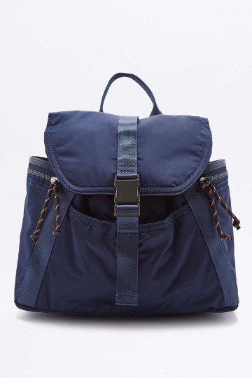 Navy Satin Clip Backpack