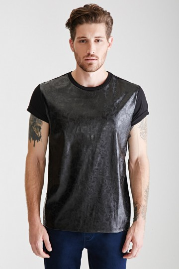 Embossed Faux Leather-Front Tee