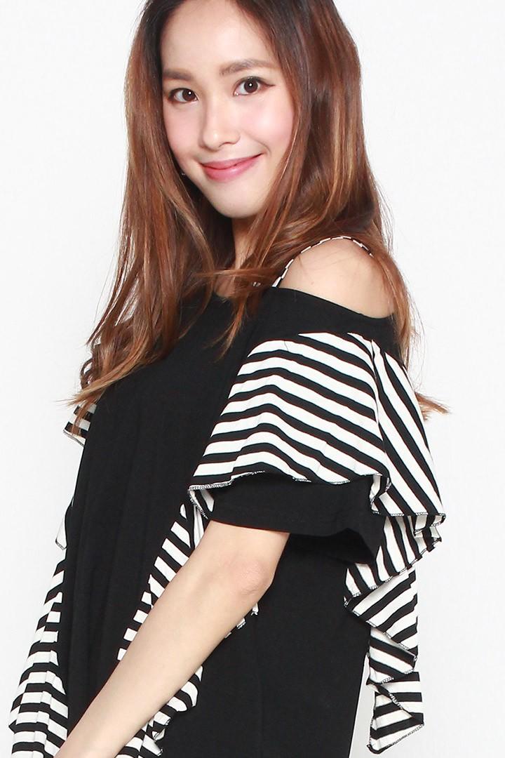 Gabryella Stripe One Shoulder Dress