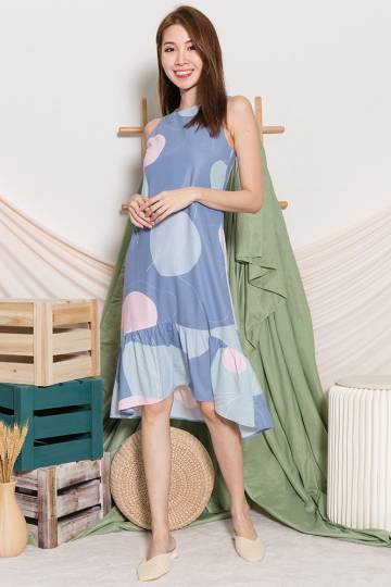 MAVIS ABSTRACT MERMAID DRESS (ASH BLUE)
