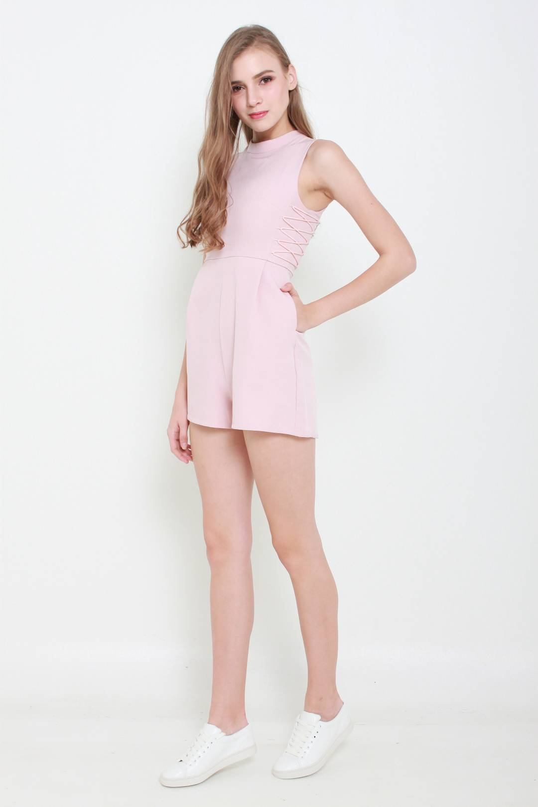 Harper Lace Up Playsuit (Dusty Pink)