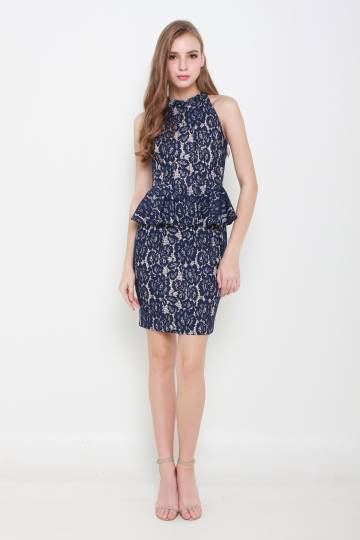 Alyssa Intricate Lace Peplum Dress (Navy/Nude)