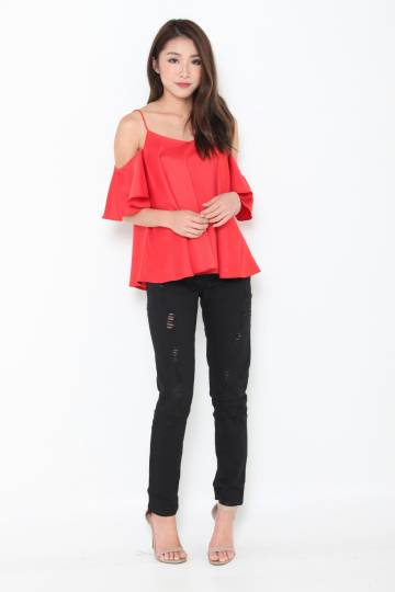 Lolita Ruffle Cold Shoulder Top in Red