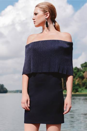 Pleated Gaze Off Shoulder Dress