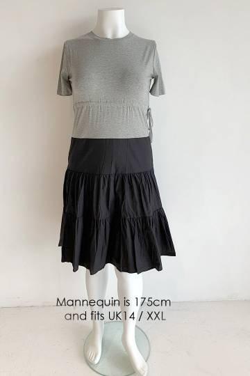 Makato Drawstring Dress in Grey Black