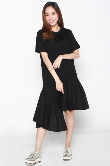 Rheta Ruffle Asymmetrical Dress in Black