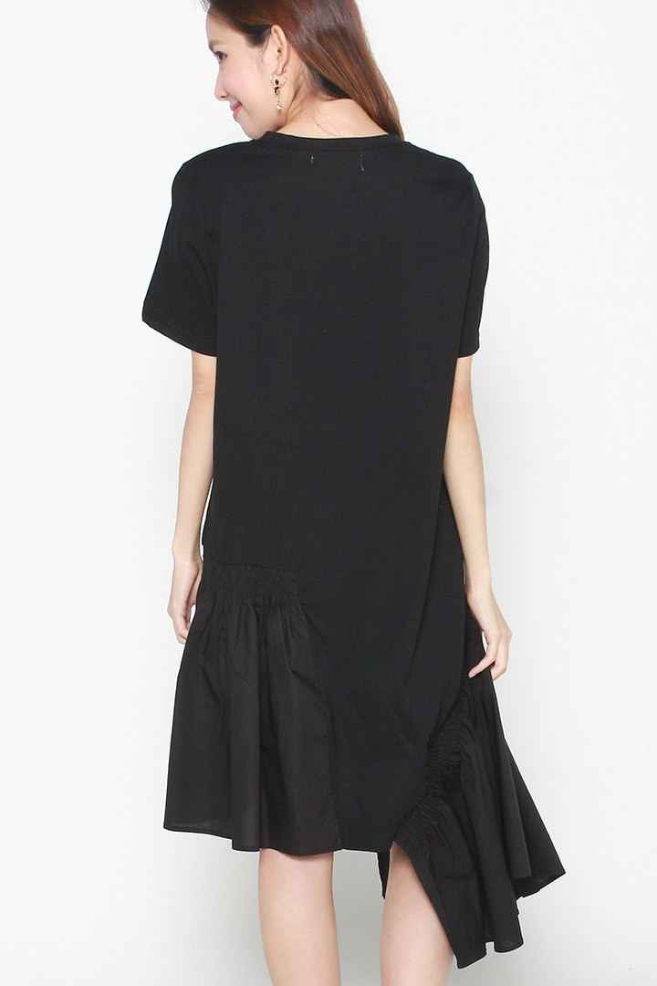 Backorders Rheta Ruffle Asymmetrical Dress in Black