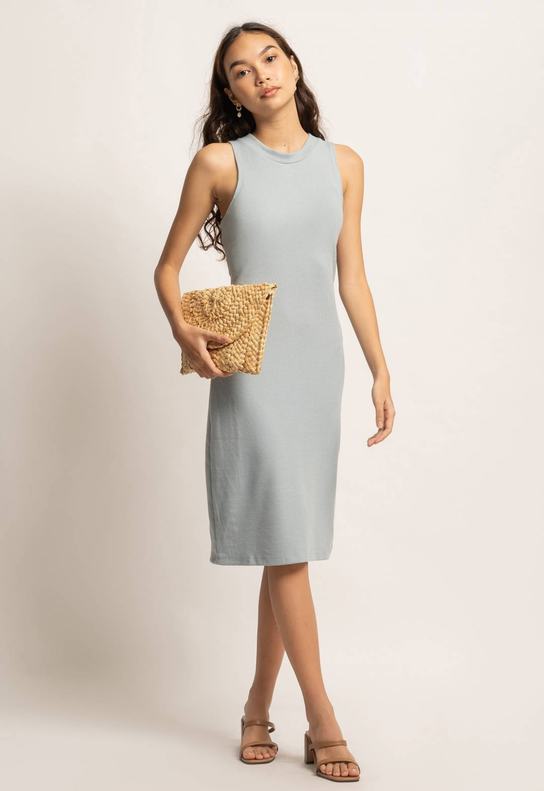 Levia Knitted Midi Dress in Sage