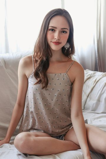 Primrose Floral Trapeze Top in Oatmeal (Reversible)